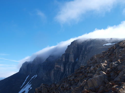 Interesting clouds rolling in and out obscuring the summit of Mount Daly