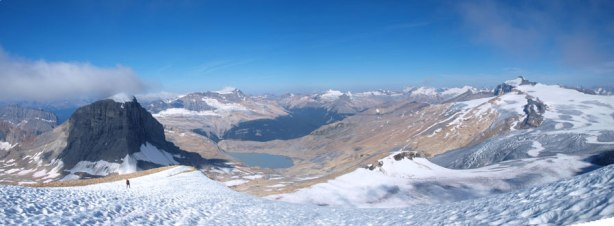 Panorama from a snow field. You can see Rod coming up