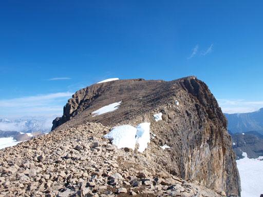 This slope is foreshortened. False summit behind