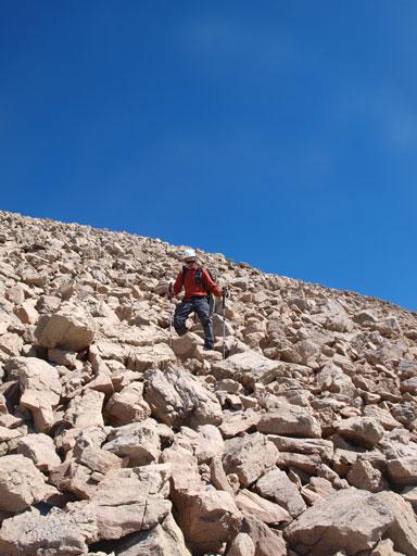 Descending boulder field
