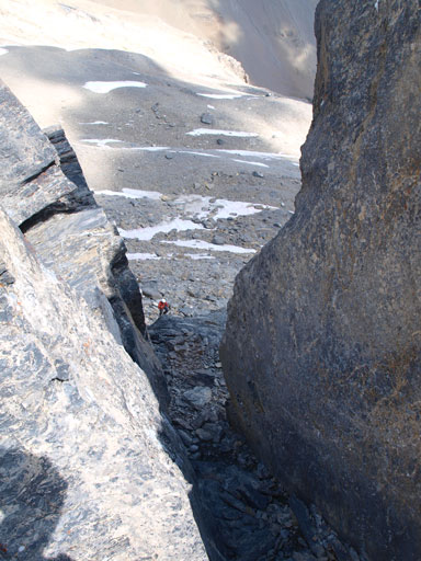 Looking down at Rod coming up this gully