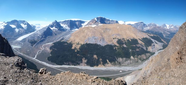 Panorama view down to Sunwapta River Valley
