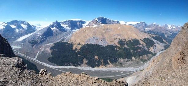 Panorama view down to Sunwapta River Valley