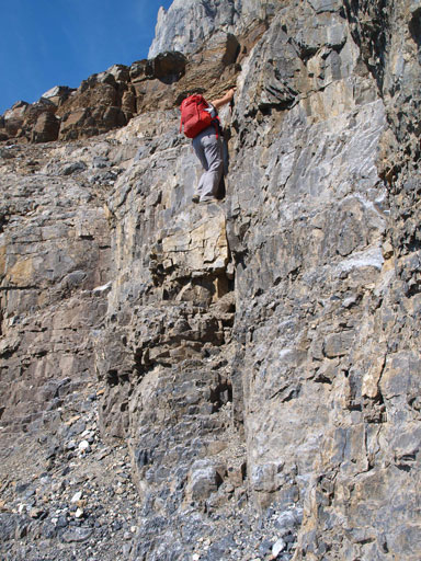 Down-climbing the 2nd cliff band