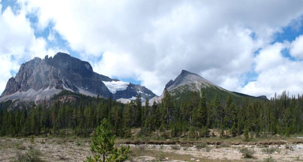 Now we're on the long flats. Marmot Mountain is the lower one on right