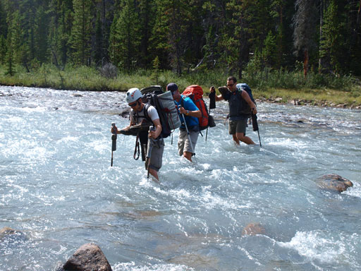 Simul river crossing the raging Dolomite Creek.