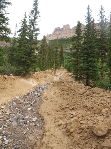 Crossing an interesting mud creek. Dolomite Peak behind.