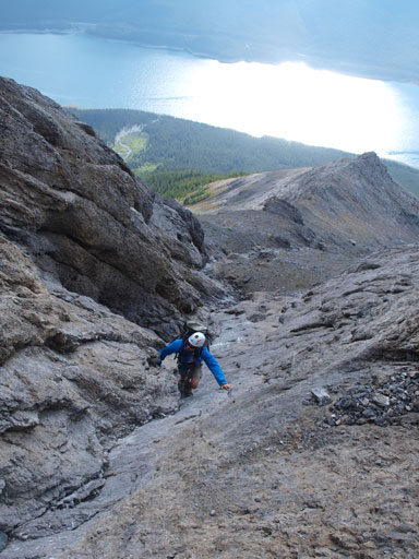 Scrambling up the waterworn gully