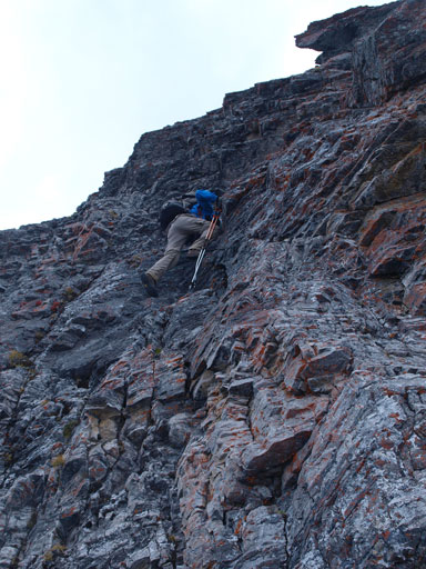 Down-climbing the first difficult pitch.