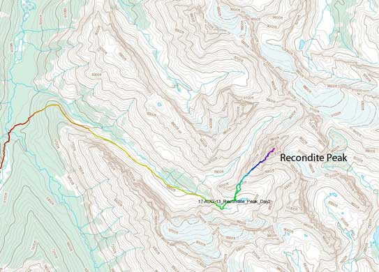 Recondite Peak climbing route