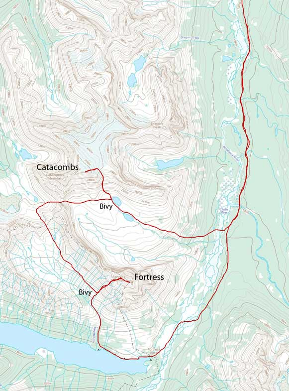 Catacombs Mountain and Fortress Mountain ascent route