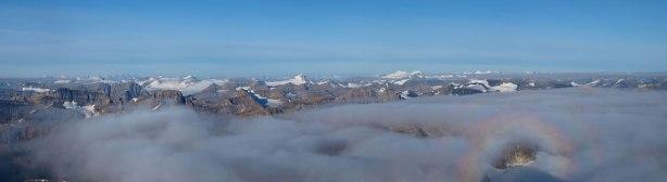 The Wapta Icefield on left; Freshfield Icefield on right