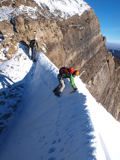 Vern crossing the snow arete