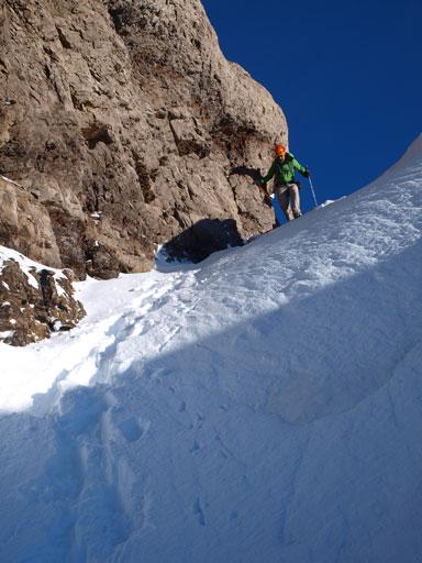 Descending steep terrain