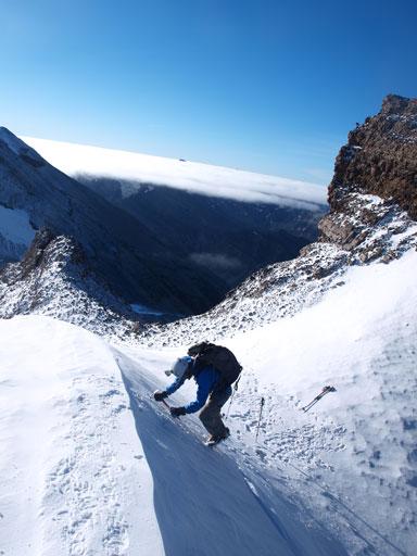 Ben down-climbing a short section