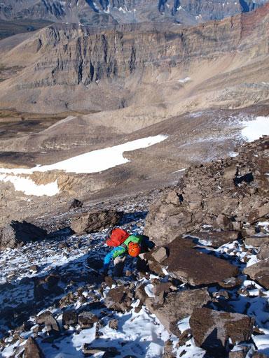 Vern ascending loose terrain