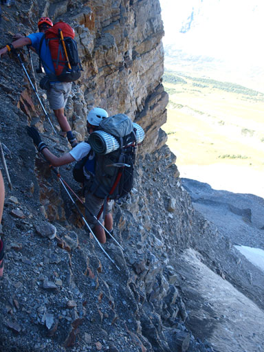 Carefully ascending back Quartzite Col