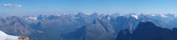 Panorama of Sir Winston Churchill Range with many familiar 11,000ers