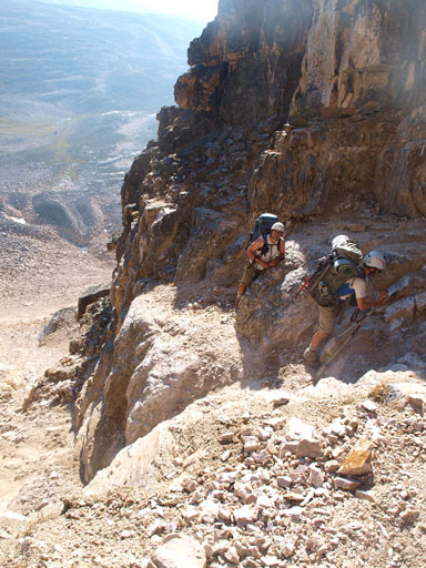 More scrambling on awkward terrain