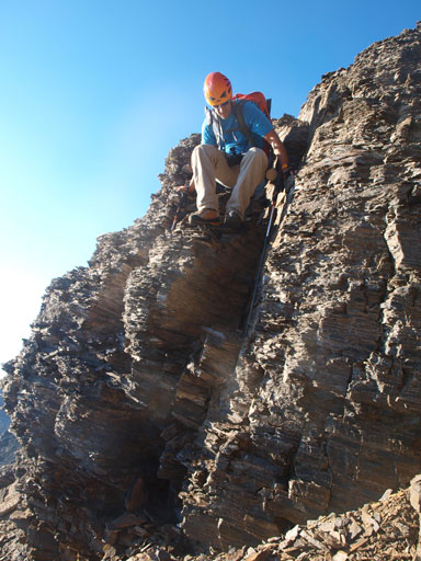 Vern down-climbing a challenging step