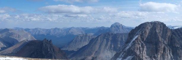 Zoom-in looking over Pika Peak's shoulder towards Mount Douglas