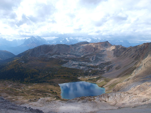 Probably the best view of Hidden Lake from this peak
