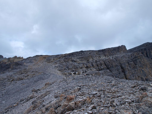 Looking up this foreshortened slope. Summit is on right.