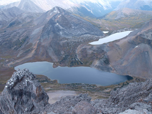 Ptarmigan Lake is the big one; Redoubt Lake is the smaller one