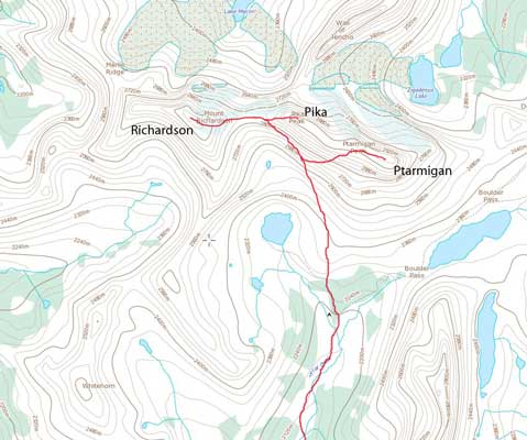 Scrambles routes link-up for Mt. Richardson, Pika Peak and Ptarmigan Peak