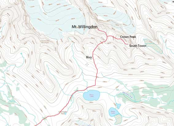 Ascent route for Mt. Willingdon, Crown Peak and South Tower