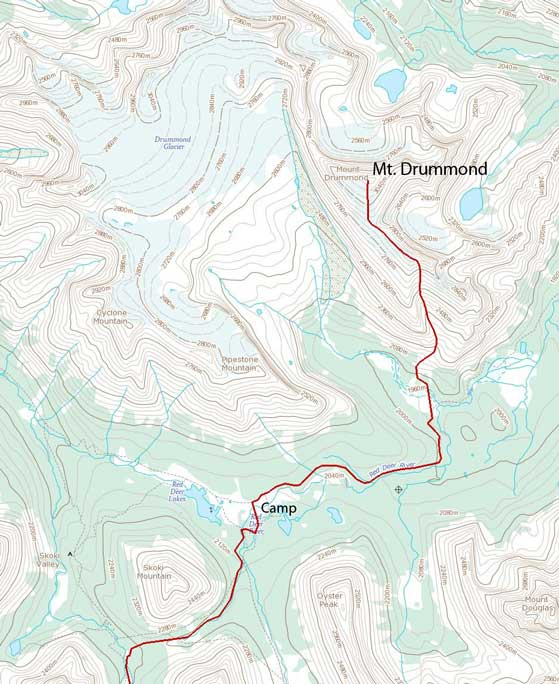 Mt. Drummond ascent route via south gully
