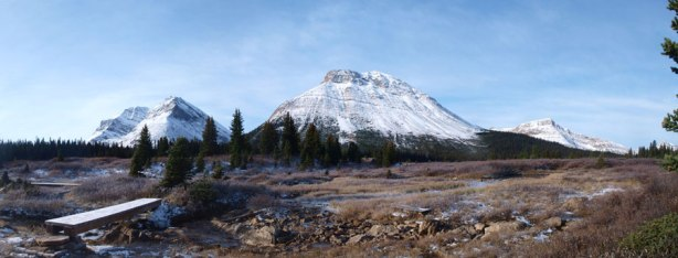 Another panorama from the flats, showing Fossil Mountain and Skoki Mountain