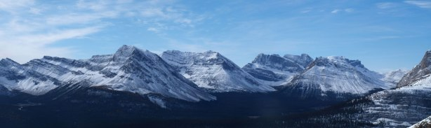 Panorama view of Oyster Peak, Fossil Mountain, and Skoki Mountain