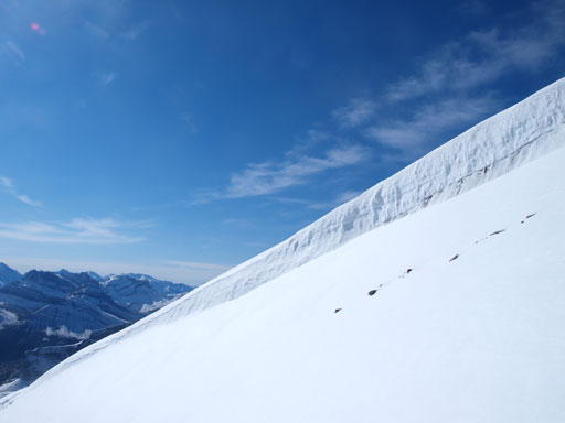 A cornice is forming on the false summit
