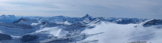 Panorama of Drummond Icefield, with Mount Hector behind