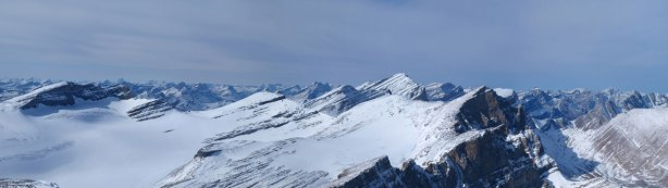 Panorama of Drummond Icefield, with Cataract Peak behind
