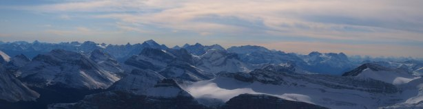 Panorama of the familiar giants in Lake Louise, with the Skoki scrambles in front