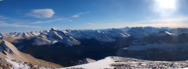 Panorama from false summit before starting the descent