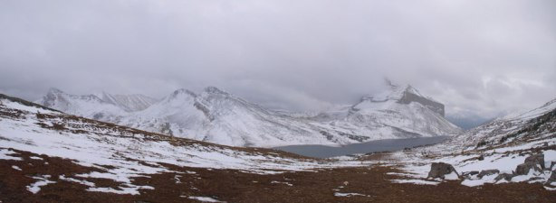 At the windy Packer's Pass, panorama view of the other side