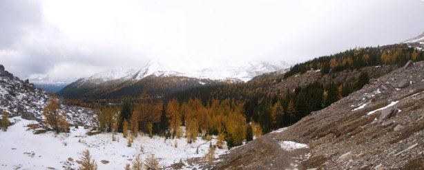 Up and over Boulder Pass, panorama view of the other side.