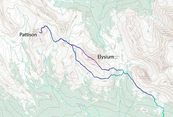 Elysium Mountain to Mt. Pattison winter traverse route