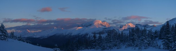 Alpenglow on Griesbach, Oliver, and Snaring. Click to view large size.