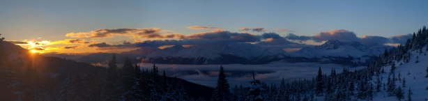 Panorama of Mietter River Valley at sunrise. Click to view large size.