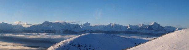 Panorama of the peaks on the other side of highway. Highest is Mount Geikie.