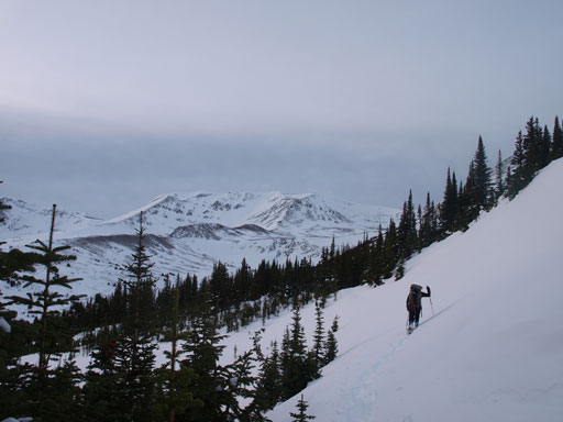 There's one avalanche slope to cross below treeline