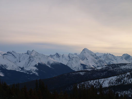 Samson Peak is the striking one; Leah Peak is the lower one on left.