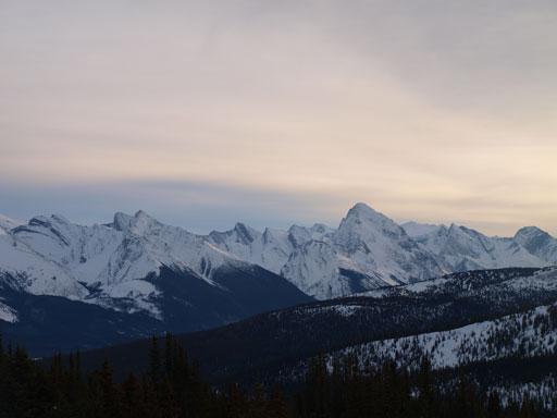Samson Peak is the striking one; Leah Peak is the lower one on left.