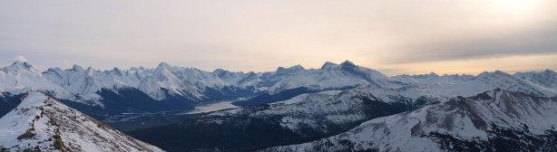 Panorama of Maligne Lake area