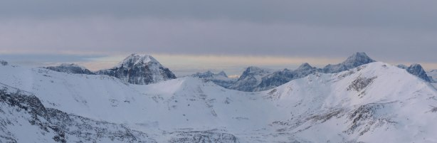 The impressive peak on left side is Mt. Hardisty. The big one pokes behind on right side is Edith Cavell