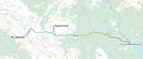 Sunset Peak and Mt. Aberhart snowshoe ascent route